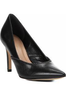 Scarpin Couro Shoestock Salto Alto Glam - Feminino-Preto
