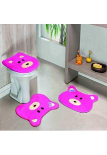 Jogo Banheiro Dourados Enxovais Formato Ursa Pink