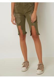 Bermuda Le Lis Blanc Soraia Sarja Verde Feminina (Militar, 46)