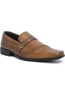Sapato Social Com Fivela Pé De Ferro Masculino - Masculino-Marrom Claro
