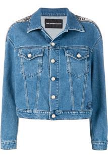 Karl Lagerfeld Jaqueta Jeans Com Aplicação De Logo - Azul
