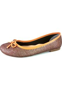 Sapatilha Bico Redondo Sapatoweb Lacinho Bronze