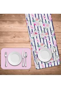 Jogo Americano Com Caminho De Mesa Wevans Floral Rose Kit Com 4 Pçs + 1 Trilho