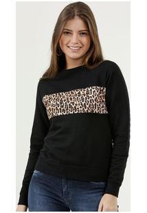 32cf348696 ... Blusão Feminino Moletinho Recorte Estampa Animal Print