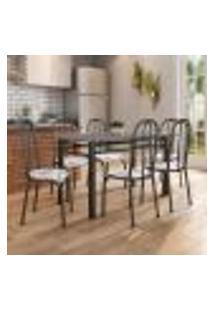 Conjunto De Mesa Granada Com 6 Cadeiras Madri Preto E Branco Floral Gr