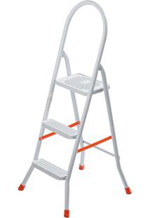 Escada Doméstica Em Aço Com 3 Degraus Branca