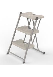 Escada Boreal 3 Degraus Anodilar - Cinza Claro - Multistock
