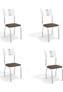 Conjunto Com 4 Cadeiras De Cozinha Munique Cromado E Marrom
