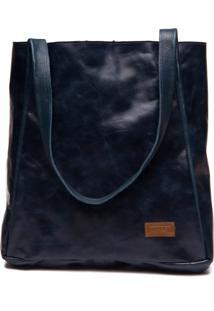 Bolsa Feminina Em Couro Azul Marinho - Passiflora / Floater Marinho 20 - Tricae