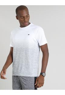 Camiseta Masculina Ace Degradê Manga Curta Gola Careca Branca