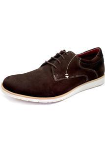 Sapato Sapatênis Casual Oxford Couro Nobuck Confort Amsterdã Khaata Café
