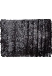 Tapete Shaggy Retangular Poliéster (50X100) Cinza Escuro