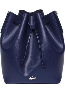 Bolsa Saco Em Couro Texturizado - Azul Marinho - 31Xlacoste