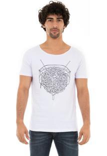 Camiseta Ksa Da Árvore Logo Fone Gola Canoa Branca