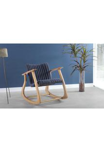 Cadeira De Balanço Smith Metalassê 65X83X72Cm - Verniz Amêndoa \ Tec.997 - Chumbo