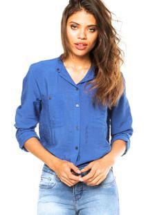 Camisa Manga Longa Calvin Klein Jeans Bolsos Azul