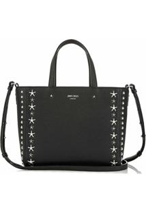 Jimmy Choo Pegasi Star-Embellished Textured-Leather Tote - Preto