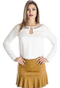 Blusa Detalhes Dourados Colcci - Feminino-Off White