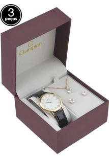 Kit 3 Pçs Relógio Champion Cn28287B Preto