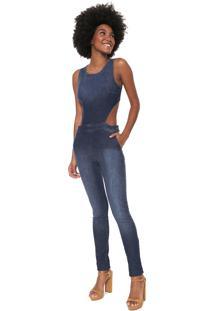Macacão Coca-Cola Jeans Slim Recortes Azul