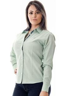 Camisa Pimenta Rosada Da Poá Erika - Feminino-Verde Claro+Branco