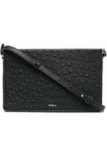Furla Textured Zip-Up Leather Crossbody Bag - Preto