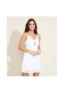 Vestido De Laise Feminino Curto Com Nó Alça Fina Off White