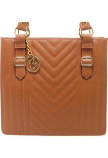 Bolsa Birô Shop Bag Fivela Feminina - Feminino-Caramelo