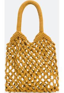 Bolsa Em Tricot Com Alça De Mão
