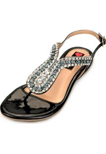 Sandália Rasteira Love Shoes Gota Strass Preta