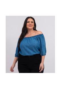 Blusa Ombro A Ombro Com Elástico Nas Mangas Curve & Plus Size | Ashua Curve E Plus Size | Azul | Gg