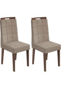 Conjunto De Cadeiras De Jantar 2 Nevada Suede Rovere E Avelã