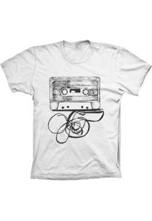 Camiseta Lu Geek Manga Curta Fita K7 Branco