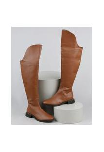 Bota Feminina Oneself Montaria Cano Alto Over The Knee Caramelo