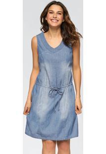 Vestido Jeans Azul Claro Com Cordão De Ajuste