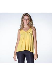 Blusa Alça Fina Feminina Detalhe Botões - Feminino-Amarelo