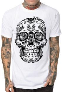 Camiseta Hypnotic Caveira Mexicana Branco