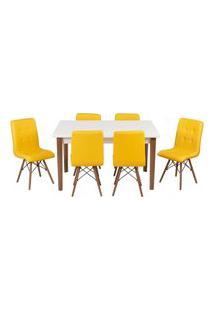 Conjunto Mesa De Jantar Luiza 135Cm Branca Com 6 Cadeiras Gomos - Amarelo