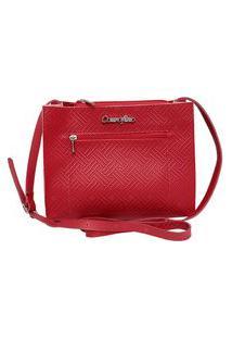 Bolsa Couro Fino Pequena Com Zíper Frontal E Alça Regulável Vermelha