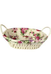 Cesta Revestida Floral- Bege Claro & Rosa Escuro- 8Xfull Fit