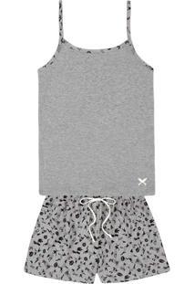 Pijama Feminino Em Malha De Algodão Com Alças Finas