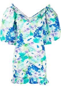 Alessandra Rich Vestido Franzido Com Estampa Floral - Azul