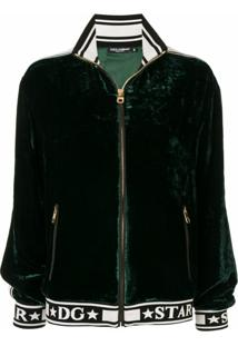 Dolce & Gabbana Jaqueta Bomber De Veludo Com Logo E Listra - Verde