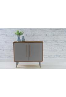 Aparador Buffet 2 Portas Celeste Capuccino E Cinza Concreto 133X40X79,5 Cm