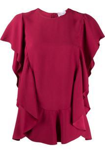 Red Valentino Blusa Mangas Curtas Com Babado - Vermelho