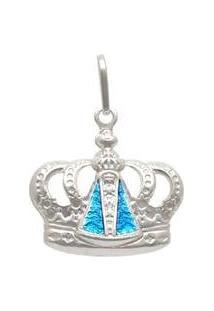 Pingente Prata Coroa Com Nossa Senhora Aparecida Com Resina Azul - Unissex-Prata