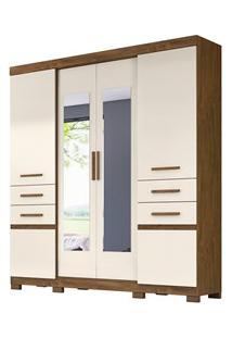 Guarda Roupa Casal 6 Portas E Espelho Aracaju Castanho Wood/Baunilha -