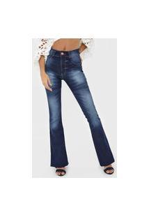 Calça Jeans Biotipo Flare Estonada Azul