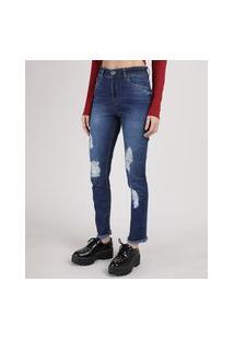 Calça Jeans Feminina Cigarrete Cintura Alta Destroyed Com Barra Desfiada Azul Escuro