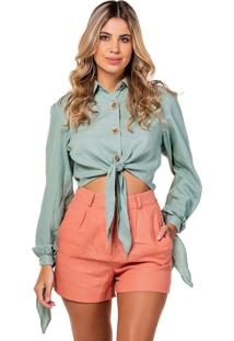 Blusa Cropped Flee! Camisa Cropped Verde